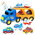 HITOY CADEAU Truck Transport Car Play Vehicles Toys for 1 2 3 4 5 Years Old Babies, Vehicles with Real Siren Sound & Flashing Light Carrier Toys containing Taxi&Airplane(Transport Car) from Faeny
