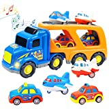 Faeny 5 in 1 Transportation Toy Set containing 2 Cars, 2 Planes and 1 Large Carrier Truck with Sound and Light, Science Educational Friction Power Toy Car for Kids & Teens, Boys & Girls Aged 3+