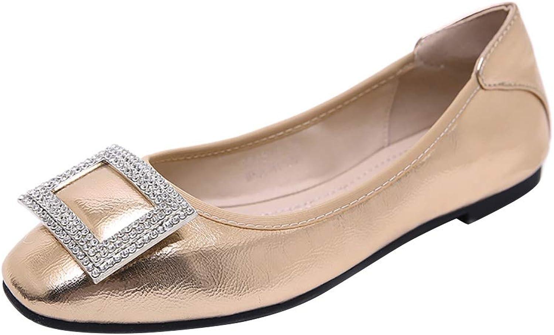 Wollanlily Womens Square Toe Slip On Ballet Flats Ballerina Flat Dress shoes
