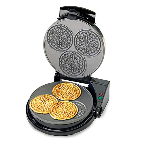Chef'sChoice PizzellePro Express Bake Nonstick Pizzelle Maker Features Color Select Control and Instant Temperature Recovery Easy to Clean, 3-Slice, Silver