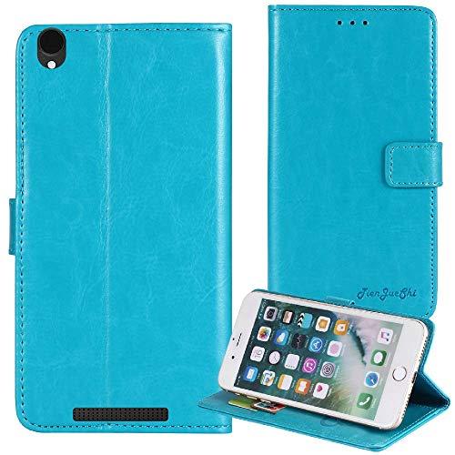 TienJueShi Blau Flip Book-Style Brief Leder Tasche Schutz Hulle Handy Hülle Abdeckung Fall Wallet Cover Etui Skin Fur Archos Access 50 4G 5 inch