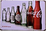 Tin Sign | Metal Wall Poster | Coca-Cola 7 Bottle Collection 8 x 12 in. | Decoration Art Plaque for Home Bar Room Restaurant Business Garage Man Cave | Retro Vintage Style Print (Set of 1)