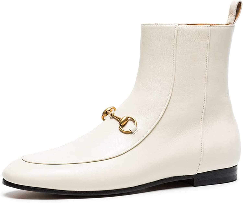 YDN Women Dressy Low Heel Booties Round Toe Boots Flats Soft Zipper shoes