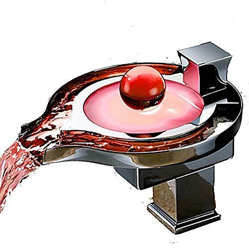 LCSD Wasserhahn Moderne kreative Waschbecken Wasserhahn - LED Chrom EIN-Griff Zwei-Loch-Bad Wasserhahn
