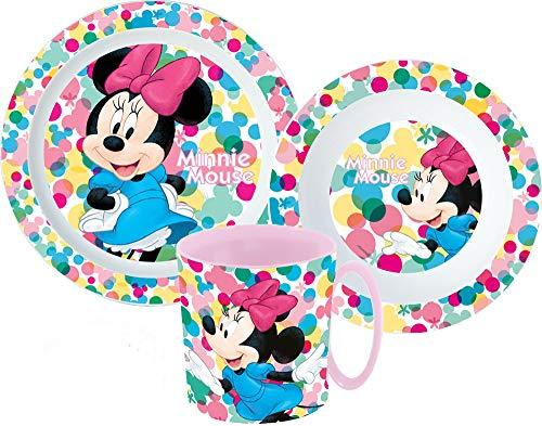 Minnie Mouse - Vajilla infantil con plato, cuenco para cereales y vaso (incluye cubiertos)