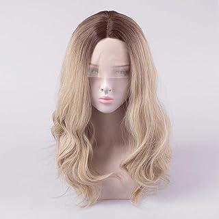 女性の長い巻き毛の化学繊維フロントレースグラデーションウィッグでかつらセット (Color : A, Size : M)
