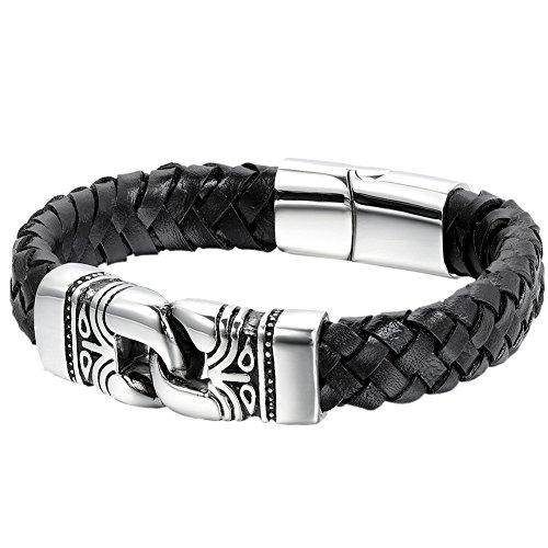 Oidea - Bracciale da uomo, vintage, con dettagli in acciaio inossidabile - Incisione a forma di totem - Bracciale in pelle a corda - Bracciale da uomo con chiusura magnetica - Nero/argento
