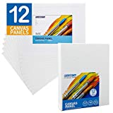 FIXSMITH-Painting-Canvas-Panels,8x10 Inch Canvas Board Super Value 12 Pack Canvases,100% Cotton,Primed Canvas Panel,Acid...