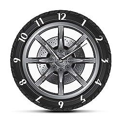 The Geeky Days Car Service Repair Garage Owner Tire Wheel Custom Car Auto Silent Quartz Printed Wall Clock Watch Vintage Cool Mechanic Gift Ideal for Car Workshop