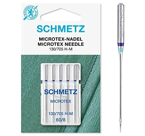 SCHMETZ - Agujas para máquina de coser: 5 agujas Microtex, 130/705 H-M, se pueden utilizar en cualquier máquina de coser doméstica, adecuadas para tejidos muy densos y finos