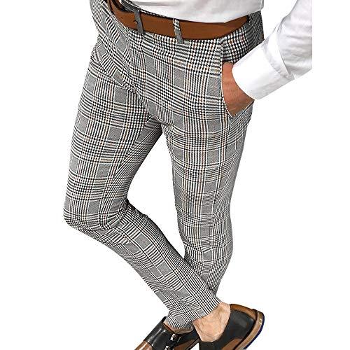 Shujin Herren Business Hose Chino kariert Stoffhose Straight Bein Schlank Beiläufige Hosen Stretch Slim Fit Freizeithose