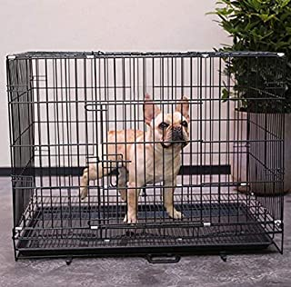 PSK Double Door Folding Metal Dog Cage with Paw Protector(Size :24 Inch) Black