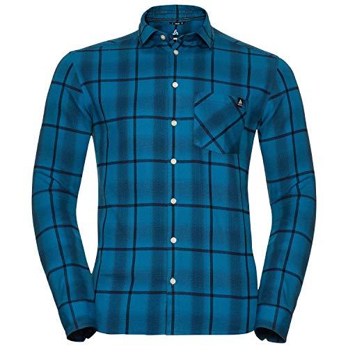 Odlo Logger Chemise Homme, Mykonos Blue/Peacoat/Blue Opal/Check, FR : M (Taille Fabricant : M)