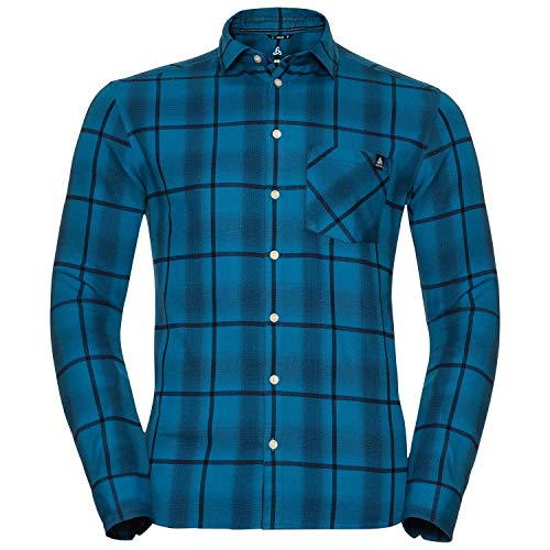 Odlo Herren l/s Logger Hemden & T-Shirts, Mykonos Blue - Peacoat - Blue Opal - Check, L