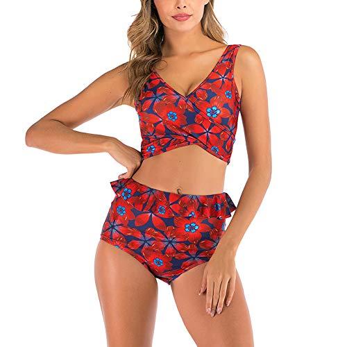 Valin Bikini para mujer con volantes, espalda descubierta, bañador de dos piezas, secado rápido, S9034 rojo 38