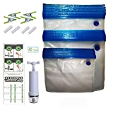 Aichhe Sous Vide Bags, 40 Items (30 Bags/3 Sizes), BPA free, Reusable Vacuum Sealer Bags for Anova and Joule Cookers, Vacuum Food Saver Bags with 1 Hand Pump, 4 Sous Vide Bag Clips and 4 Sealing Clips for Food Storage and Sous Vide Cooking, Suit for Dog Food and Cat Food Storage (40)