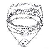 Juego de 5 pulseras de plata para mujer, pulseras de la amistad con símbolo de infinito, pulseras de la amistad, pulseras de bolas, pulseras ajustables, pulseras de abalorios y bohemios
