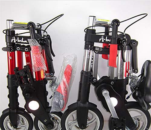 Acptxvh Multi-función para Bicicleta Plegable de 8 Pulgadas de Bicicletas Transportar fácilmente Plegable y Mujeres Adultos-Hombres Tipo Variable,Rojo