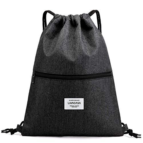 LIVACASA Mochila de Cuerdas Mujer Hombre Bolsas de Cuerdas Bolso Mujer Casual A Prueba de Agua Impermeable Bolsillo Exterior Extra Ajustable Correas de Hombros Negro