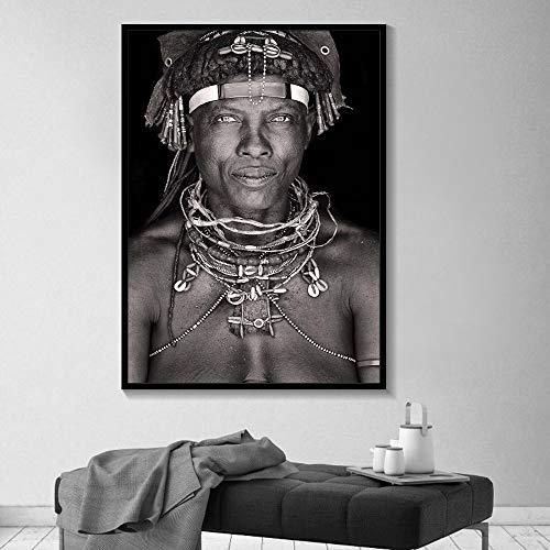 Rahmenlose Malerei afrikanische Wandkunst Porträt Home Decoration Schwarz-Weiß-Poster und Drucke Wohnzimmer Leinwand GemäldeZGQ2199 60X80cm
