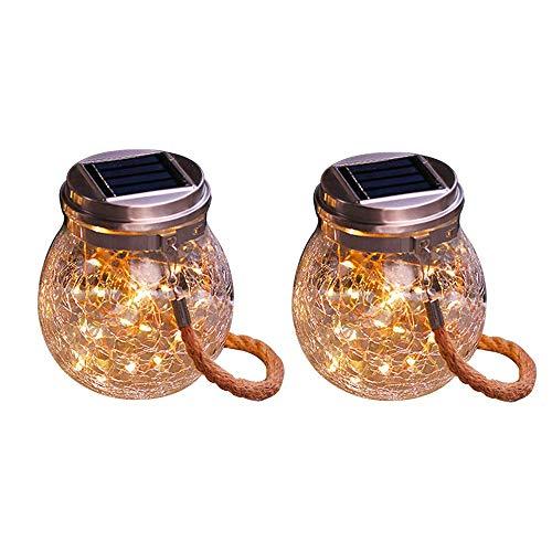 SFOUR ソーラーライト屋外LEDガラスライトガーデンライト自動照明防水、屋外、休日の装飾、元旦の装飾に適しています (暖色系2個セット)の写真
