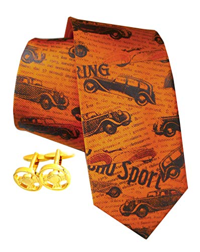 Unbekannt Lenkrad Manschettenknöpfe vergoldet + Oldtimer Seidenkrawatte orange Handicraft Set + Geschenkbox u. Geschenkhülle