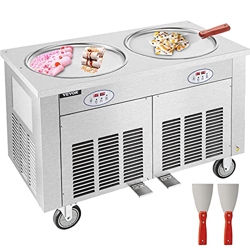 VEVOR Fried Ice Cream Roll Machine Double Pans Commercial Ice Roll Maker Stainless Steel Fried Ice...
