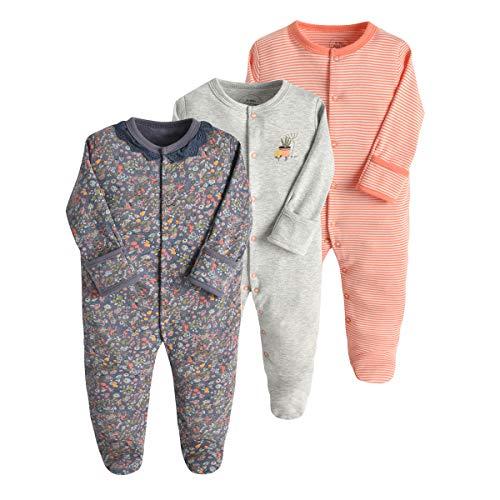 Bebé Pijama Pack de 3, Pelele de Algodón Niño Niña Mameluco Manga Larga Monos, Perfecto para Regalo 3-6 Meses