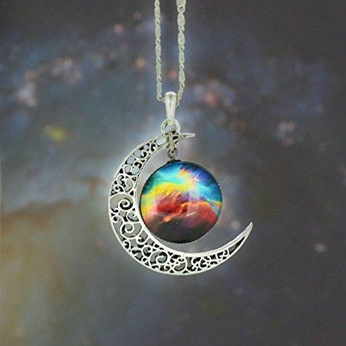 5starwarehouse® Halskette mit Anhänger in Galaxie-Optik, bunt, Glas, hohl, Halbmond, Weltraum – mit Tuch von 5 Sternen (5)