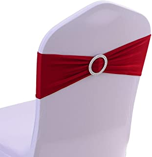 JoyMall 50PCS Spandex Stretch Chair Sashes with Buckle Bows for Wedding Party Engagement Event Birthday Graduation Meeting Banquet Decoration (Wine Red)