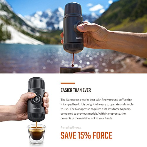 WACACO Nanopresso Portable Espresso Maker, Upgrade Version of Minipresso, 18 Bar Pressure, Extra Small Travel Coffee Maker, Manually Operated. Perfect for Tiny Kitchen and Office use