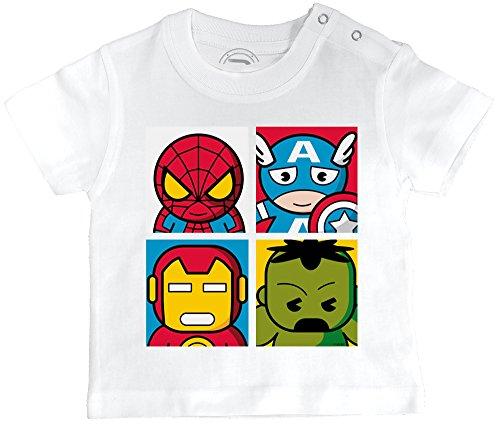 PIXEL EVOLUTION T-Shirt Bébé 4 Super Heros Taille 6 Mois - Blanc