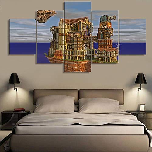 SFDHG leinwand wandbild 5 Minecraft Game Castle Posterkunstdruck lein wandbildwanddekor Design wandwohnzimmer Home Decor-with Frame-110x60Cm