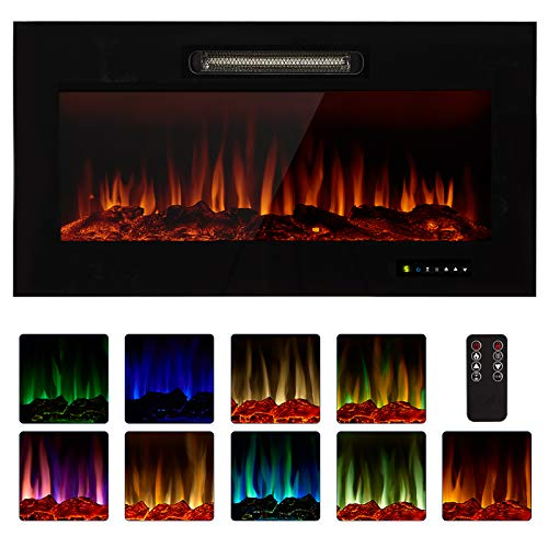 "Homedex 36"" Recessed Mounted Electric Fireplace Insert with Touch Screen Control Panel, Remote Control, 750/1500W, Black"
