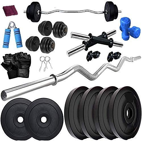 BODYFIT Home Gym Combo, Home Gym Set, Gym Equipments, Weight Plates with 3ft Curl Rod + One Pair Dumbbell Rods, [8Kg-60Kg] Weight Plates, Exercise Set, Home Gym Set Kit. (20KG Set)