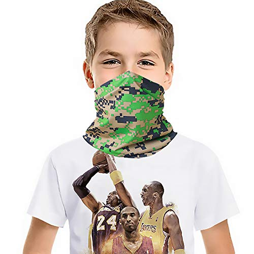 Kids Face Cover Tube Face Mask UV Protection Neck Gaiter Headband Outdoors Multifunction bandanas - Dustproof Lightweight and Cooling (camo green)