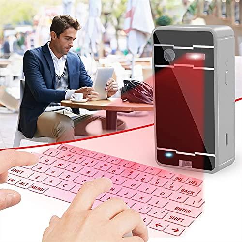 IYUNDUN Teclado Láser Bluetooth Teclado Virtual Inalámbrico Teclado De Proyección Portátil, para iOS Android Smart Phone Pad Tablet PC Notebook (Color : Silver)