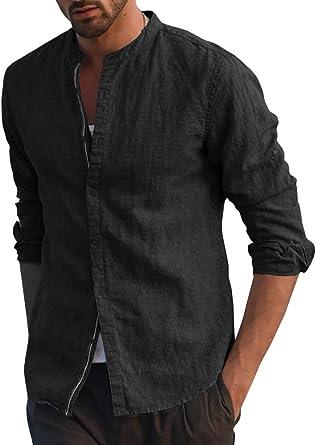 FUERI Mens Long Sleeve Shirt Cotton Linen Shirt Grandad Button Down Casual Henley Shirts Slim Fit Lightweight Summer Dress Tops