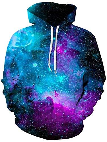 Mens Damen Hoodies Realistische 3D Galaxy Gedruckt Neuheit Pullover Mit Kapuze Langarm Sweatshirt mit Fleece Futter Blau M
