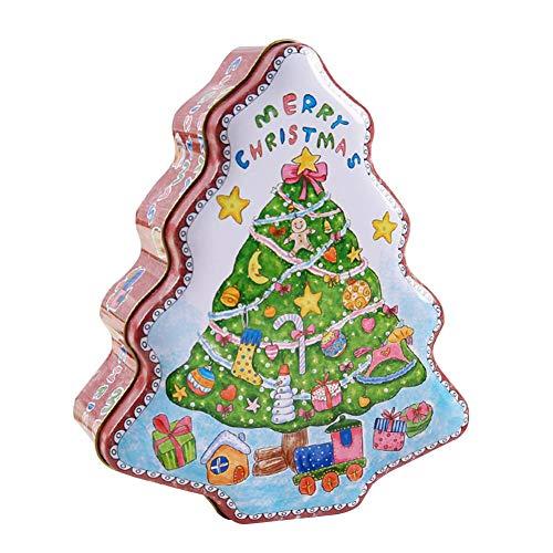 Brownrolly Weihnachten Blechdose Süßigkeiten Geschenkbox Tragbare Weihnachtsbaumförmige Plätzchen Süßigkeiten Vorratsbehälter Mit Deckel Dekoration Aufbewahrungsbox Organizer Für Kinder Wonderful