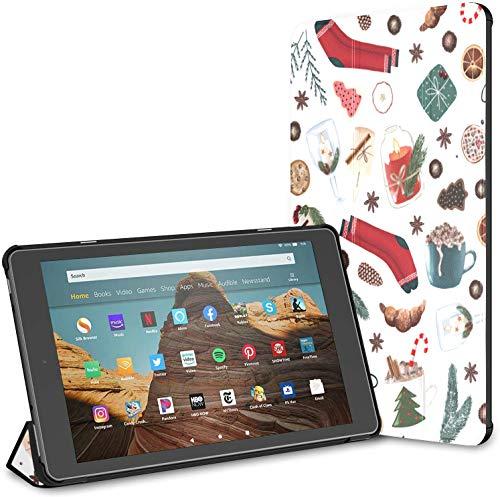 Estuche para Calcetines de Navidad para Regalos Fire HD 10 Tablet (9.a / 7.a generación, versión 2019/2017) Fire Tablet HD 10 Estuche Kindle Fire 10 Estuche para Tableta Auto Wake/Sleep para Tablet