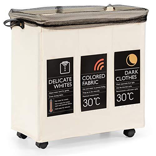 COSTWAY 120L Wäschekorb 3 Fächer, Wäschesammler mit 6 Karte Deckel Griff Rollen, Wäschesack wasserabweisend, Wäschebox Wäschesotierung (Beige)
