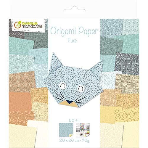 Avenue Mandarine-Un paquet de 60 Origami 20x20 cm 70g (30 Motifs x 2 feuilles) et UNE Planche de Stickers incluse, Furs Consumibles, Color hierros (Clairefontaine OR513C)