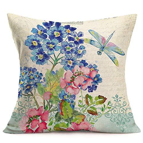 QUEMIN F-Dragonfly 08 - Funda de cojín de estilo vintage con flores silvestres, color azul con estampado de libélula a colores, de algodón y lino, con acuarela, de animales rústicos