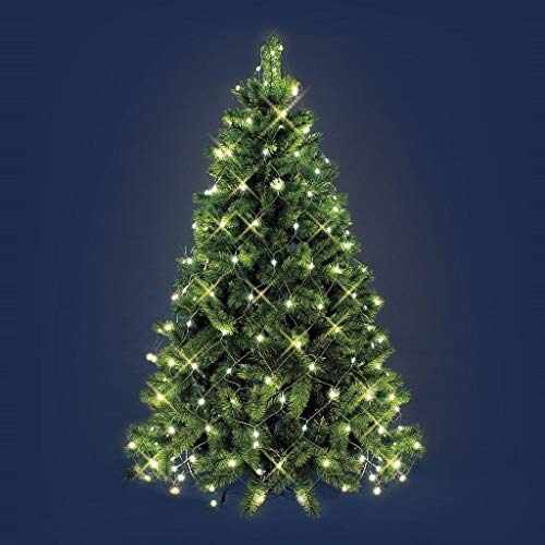 Mantello per albero di Natale da 1.8 a 2.1 mt rete telo luminoso natalizio 198 luce led filo cavo verde (Luce calda)