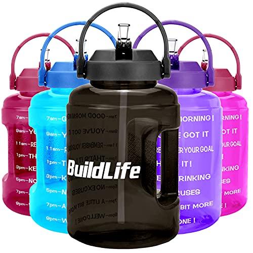 BuildLife Borraccia da 2,5 l, con indicazione del tempo in formato da 12 ore, frasi motivazionali in lingua inglese, grande capacità, ampia apertura con manico, senza BPA, riutilizzabile