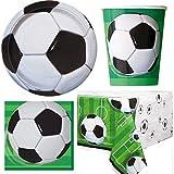 Unique Party- Juego de Mesa de fútbol 3D para 16 Personas, Incluye Tazas, Platos, servilletas, Mantel, Color Blanco (BPWFA-4173)