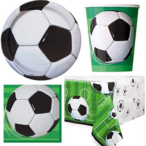 Unique Party bpwfa-41733D Fußball Geschirr Fußball Set für 16Personen, inkl. Becher, Teller, Servietten, Tischdecke