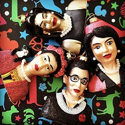 Naked Decor Set of 4 Women WE Admire Ornaments - Frida Kahlo, RGB, Jackie Kennedy and Michelle Obama
