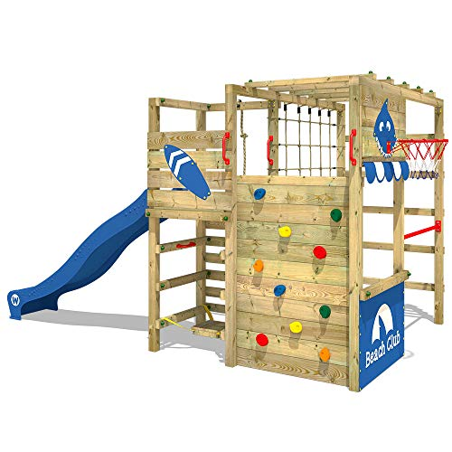 WICKEY Klettergerüst Spielturm Smart Tactic mit blauer Rutsche, Gartenspielgerät mit Kletterwand & Spiel-Zubehör